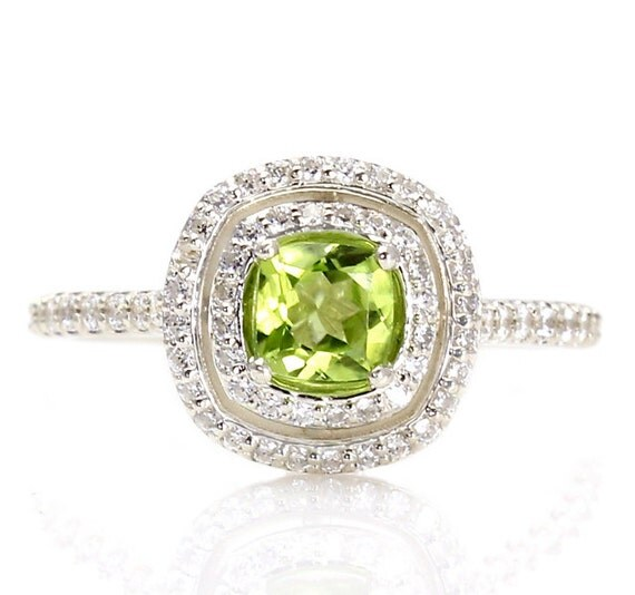Peridot Double Halo Engagement Ring Peridot Ring 14K By