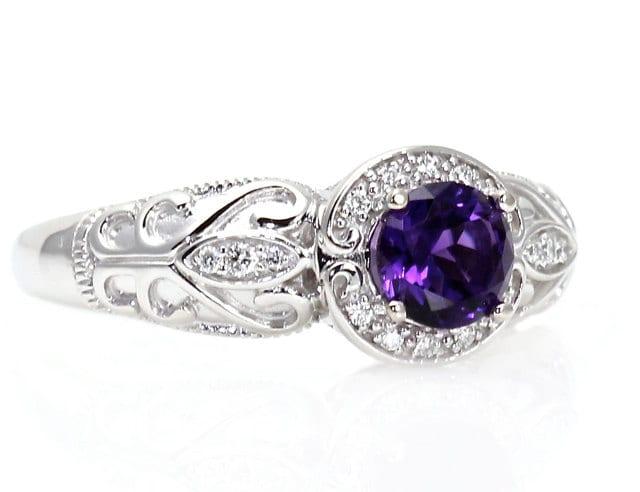 14k Vintage Amethyst Engagement Ring Diamond Halo Art By