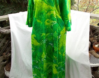 Two Potato Laguna Beach Lounge Dress Hawaiian Mod Extreme Hostess Lime WOW sz M L