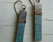 Hammered Brass with patina and wire wrapped earrings