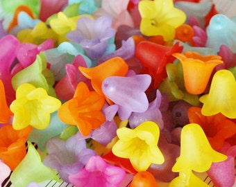 50 Pc 13mm Frosted Bell Flower Beads