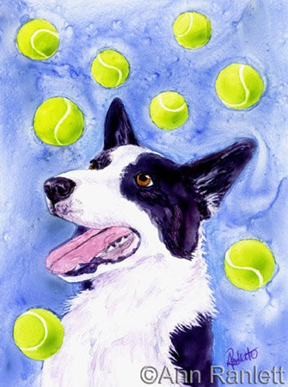 Magpie's Gold - Border Collie Dog and Tennis Balls - Signed Reproduction Print - Matted to 8 x 10 - Ranlett