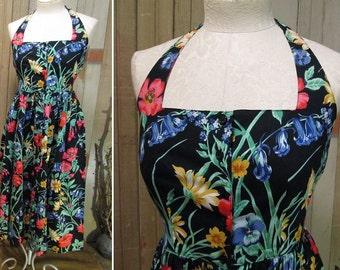 80s sundress Vintage Red floral Dress Cotton Halter sundress Poppy flowers Halter Dress 80s Black print dress floral garden dress  S M