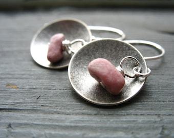 Rhodochrosite Earrings, Rhodochrosite Dangle Drop Earrings, Pink Rhodochrosite Stone, Silver Dome, Handmade Earrings Jewelry