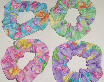 Butterfies Butterfly Pink Blue Purple Yellow Orange Fabric Hair Scrunchies Scrunchie