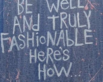 Fashionable Folk Art Typography Word Art Painting Original Canvas Quote - Nayarts