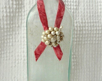 Vintage Glass Bottle with vintage ribbon, pearl and rhinestone jewelry accents - lovely