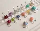 Custom birthstone charm, add a charm to any item, gemstone charm, sterling silver or 14k gold filled