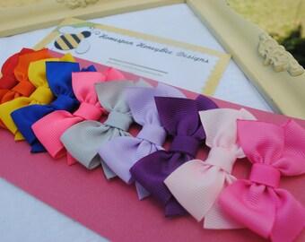 Baby Girl Gift Set - Baby Hairbows - Set of 10 Basic Hairbows - Mini Pinwheel Hairbows - Choose Colors - 2 Inch Bows - Baby Girl Hair Clips
