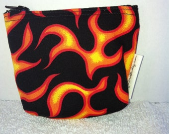 Mini Zippered Pouch-Orange Flames (Mini 28)
