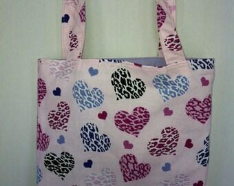 Small Tote-Animal Print Hearts (Bag 353)