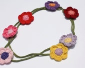 Alisha Flower Necklace, Crochet Necklace, Crochet Flower, Women's Jewelry, Fiber Necklace, Gift for her, Cotton Necklace, Everyday Jewelry