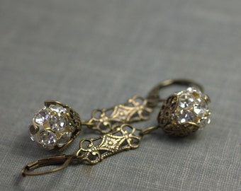 Art nouveau earrings crystal filigree brass or silver dangle rhinestone flapper antique style bridal wedding jewelry 1920's vintage inspired
