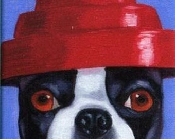Boston Terrier in a Devo Hat magnet