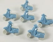 Light Blue and White Scooter Novelty Buttons