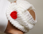SNOW-Infinity Scarf, Loop Scarf, Circle Scarf, Winter Cowl - White Chunky, Red Heart, Valentine's Gift