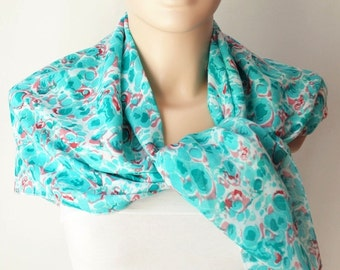 Cotton Scarf, Winter Accessories, Turquoise Spring Scarf