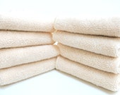 Free Offer - ORGANIC Unbleached Cotton Toweling Facial Cloths or Baby Wipes- 8x8- Set of 8