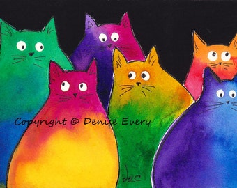 Very Colorful Two-Toned Kitties Whimsical Abstract Cat Art ACEO or 5x7 Print Bright Colors (Free US Shipping)