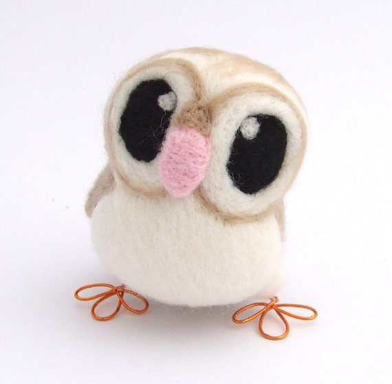 Barn Owl in Soft Beige Needle Felt Bird