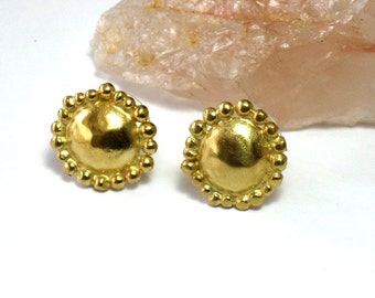 Small Yellow Gold Studs, Petite Goldplated Silver Earrings, Round Handmade Earring Posts, Elegant Minimalist Jewelry,Gold Earring Studs