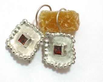 Square Silver Opal Earrings, Handmade Sterling Red Opal Earrings Dangle