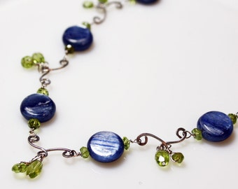 Blue Kyanite Sterling Silver Necklace, Blue and Green Gemstone Necklace, Sterling Silver Gemstone Necklace, Handmade Kyanite Necklace