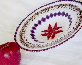 Fused Glass Bowl in Purple and Red