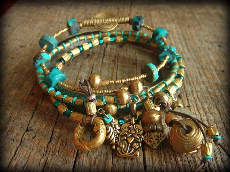 African Brass Beaded Bangle Bracelet Set