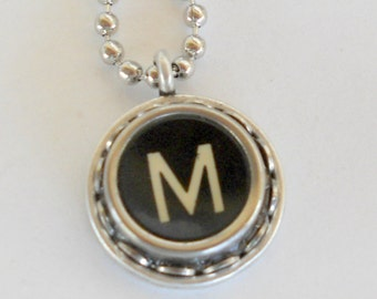 Typewriter Key Necklace Vintage Initial Jewelry Monogram Typography  Name Pendant Antique