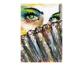 Peacock masquerade matted mini print of painting & free ship