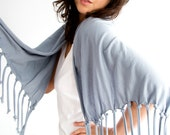 SALE Tassel Scarf Shawl in Grey