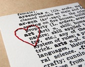 I Heart Art: letterpress print, hand embroidered with red thread heart