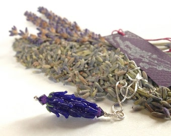 Lavender Glass Bead Pendant in Dark Blue with Dried Lavender Sachet Buds