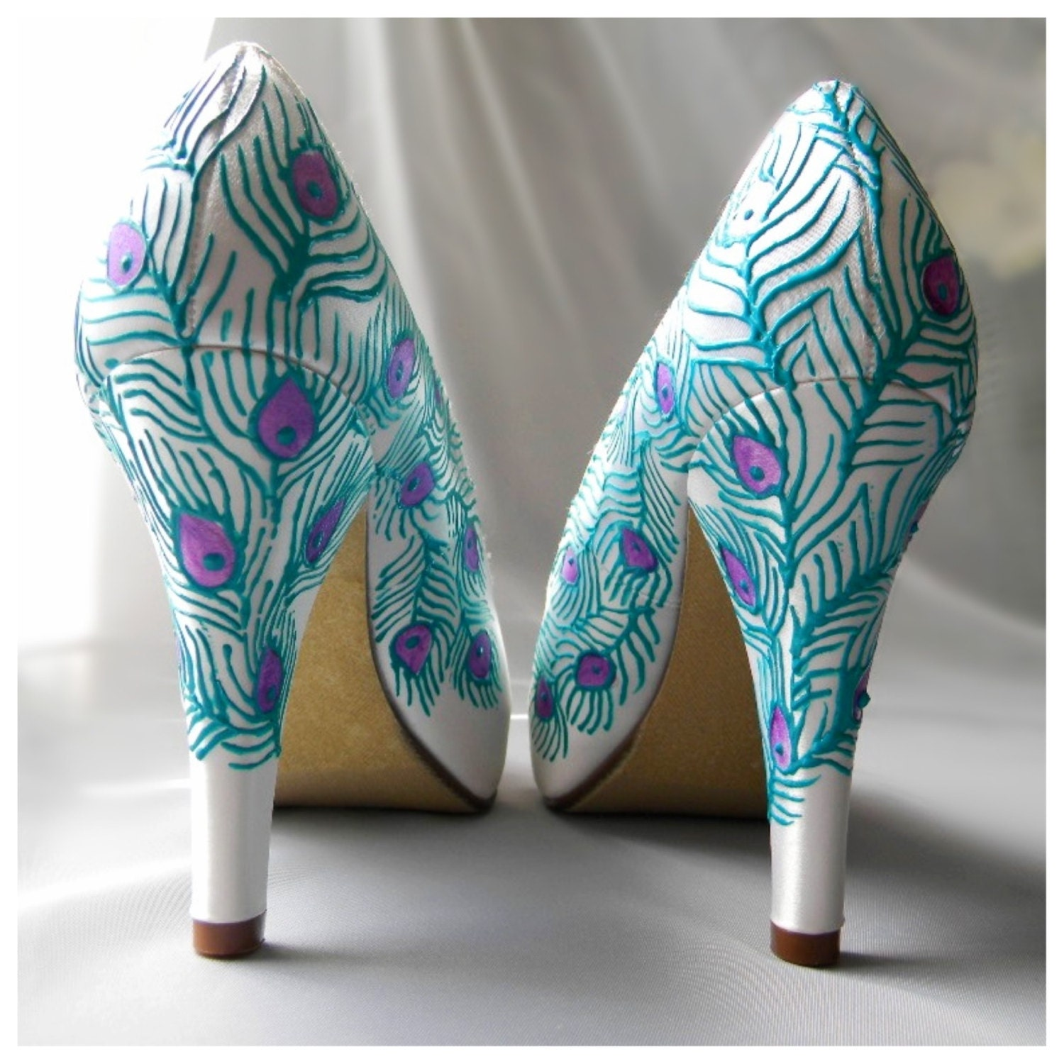 Turquoise Wedding Heels: Wedding Shoes Peacock Feather Turquoise Purple Ivory By