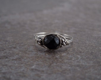 Sterling Silver Faceted Black Onyx and Bali Bead Ring