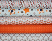 One For The Boys Stars quilt or craft fabric bundle by Zoe Pearn for Riley Blake Designs- Fat Quarter Bundle, 5 total