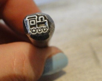 Big Design Stamp - CHOO CHOO TRAIN - 3/8 inch (9.5mm) - includes How to Stamp Metal tutorial - In sTock - Ready to sHip
