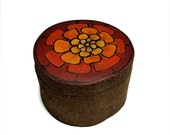 Monarch French Marigold - Tagetes patula - Inspired Rustic Natural Wooden Magnolia Ring or Trinket Box by Tanja Sova