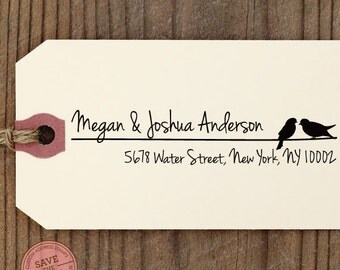 CUSTOM ADDRESS STAMP with proof from usa, Eco Friendly Self-Inking stamp, rsvp address stamp, custom stamp, personalized stamp Love birds3