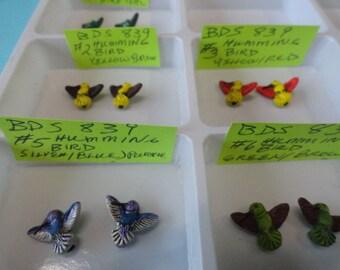 Choose your Beads, Hummingbirds Assorted ColorsTiny Detailed Animal Ceramic Beads 2 pcs. BDS 839