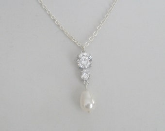 Rhinestone Pearl Pendant Silver Chain Necklace Bridal Jewelry Bridal Accessories Bridesmaids Jewelry