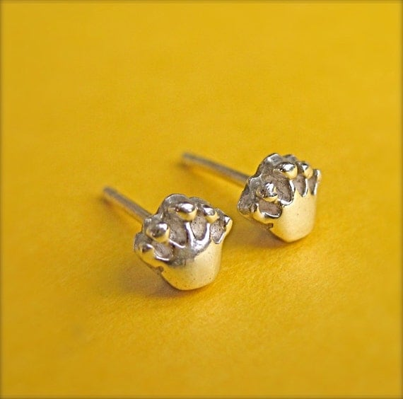 tiny crown stud earrings silver crown earrings by