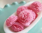 Wedding, Bridal Shower, Baby Shower Decor Button Mums Tissue Paper Flowers 1 inch Bubblegum Pink Wedding, Bridal Shower, Baby Shower Decor