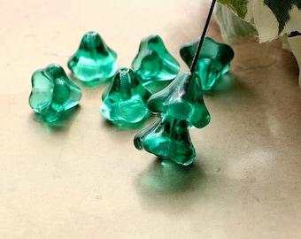Emerald Czech Glass Bell Flower Beads Teal Green 11x13mm (10)