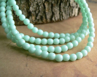 Mint Green Czech Glass Beads Round Druk Opaque 4mm (50)