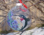 Hummingbird Ornament Glass Hand Painted