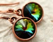Rainbow Rivoli Crystal Copper Earrings