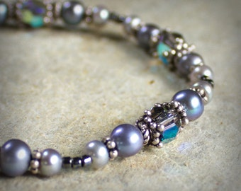Gray Pearl Crystal Bracelet Sterling Swarovski Bridal Prom Formal Simple Elegant Ocean