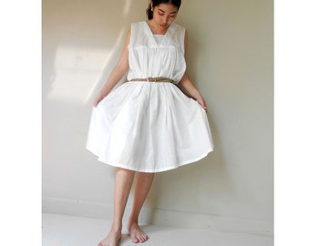 Cream cotton v-neck Boho   Sleeveless Loose Tunic dress m-l (V 8)